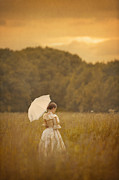 Jewellery Framed Prints - Victorian Woman In A Summer Meadow Framed Print by Lee Avison