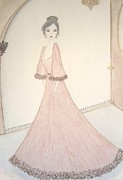 Fashion Illustration Pastels Posters - Victoriana Poster by Christine Corretti