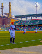 Indy Indians Metal Prints - Victory Field Catcher 1 Metal Print by David Haskett