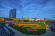 Ball Field Prints - Victory Field Home Plate Print by David Haskett
