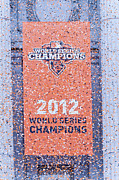 2012 World Series Champions Acrylic Prints - Victory Parade Banner For The San Francisco Giants As The 2012 World Series Champions Acrylic Print by Scott Lenhart