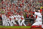 Illustrations Prints - VICTORY - St Louis Cardinals win the World Series Title - Friday Oct 28th 2011 Print by Dan Haraga
