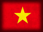 Vietnam Metal Prints - Vietnam Flag Distressed Vintage Finish Metal Print by Design Turnpike