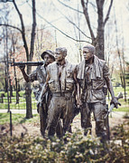 Washington Mall Prints - Vietnam Veterans Statue Print by Lisa Russo
