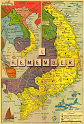 Vietnam Metal Prints - Vietnam War Map Metal Print by Gary Grayson
