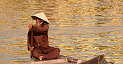 Boatman Framed Prints - Vietnamese Boatman 01 Framed Print by Rick Piper Photography