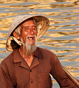 Boatman Framed Prints - Vietnamese Boatman 02 Framed Print by Rick Piper Photography
