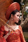 Elegant Bride Framed Prints - Vietnamese Bride 08 Framed Print by Rick Piper Photography