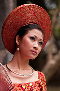 Elegant Bride Framed Prints - Vietnamese Bride 09 Framed Print by Rick Piper Photography