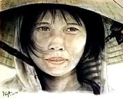 Vietnamese Woman Wearing A Conical Hat Print by Jim Fitzpatrick