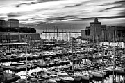 D.w Framed Prints - Vieux Port at Night bw Framed Print by John Rizzuto