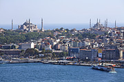 Aya Sofya Photos - View Across The Bosphorus To The Hagia Sophia And The Blue Mosque by Robert Preston