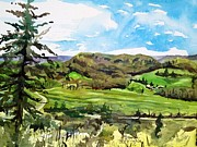Winery Paintings - View Across The Valley by Spencer Meagher