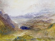 Mountain Road Painting Posters - View along an Alpine Valley Poster by Joseph Mallord William Turner
