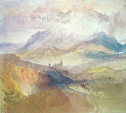 Hue Painting Posters - View along an Alpine Valley possibly the Val dAosta Poster by Joseph Mallord William Turner