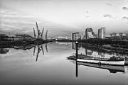 River Clyde Glasgow Framed Prints - View down the Clyde mono Framed Print by John Farnan
