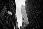 Manhaten Framed Prints - View empire state building from West 34th Street and Broadway junction new york city Framed Print by Joe Fox