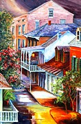 New Orleans Oil Paintings - View From a Bourbon Street Balcony by Diane Millsap