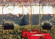 Florence Pastels Framed Prints - View from a Cafe near Florence Framed Print by Sue Lewis