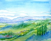 Italian Landscape Painting Originals - View from a Tuscan Hillside   by Trudi Doyle