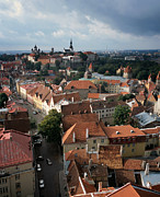 Nordic Countries Prints - View from above of Old Town Tallinn  Estonia Print by Cliff Wassmann