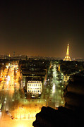 Illuminated Posters - View from Arc de Triomphe - Paris France - 011312 Poster by DC Photographer