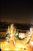 Illuminated Prints - View from Arc de Triomphe - Paris France - 01133 Print by DC Photographer
