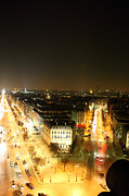 Illuminated Posters - View from Arc de Triomphe - Paris France - 01138 Poster by DC Photographer