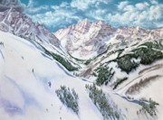 Snowscape Drawings Prints - View from Aspen Highlands Print by Jill Westbrook
