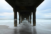 View From Below Manhattan Beach Pier Print by Bob Christopher