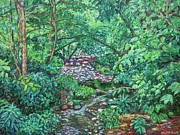 Expressionist Creek Oil Paintings - View from Bridge at Wildwood Park by Kendall Kessler