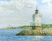 New England Lighthouse Drawings Prints - View from Casco Bay Ferry Print by Dominic White