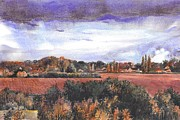 Warwick Painting Prints - View from Cryfield Pavilion in the Autumn Print by Sarah Kovin Snyder