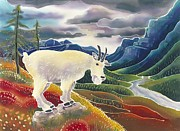 Mountain Goat Painting Prints - View from High Places Print by Harriet Peck Taylor