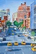 Taxis Prints - View from Highline New York City Print by Anthony Butera