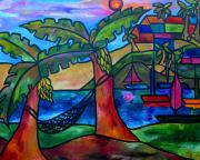 Caribbean Painting Framed Prints - View from my villa Framed Print by Patti Schermerhorn
