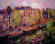 Netherlands Paintings - View from Nikkis room in Prinsengracht by R W Goetting