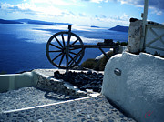 Oceon Posters - View From Santorini Island Greece Poster by Colette V Hera  Guggenheim