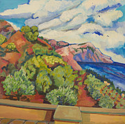 Crete Painting Originals - View from Terrace Crete by Doris  Lane Grey