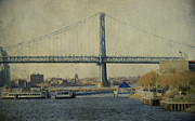 Ben Franklin Bridge Posters - View From The Battleship Poster by Trish Tritz