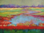 Abstracted Landscape Paintings - View From The Bridge by Carol Jo Smidt