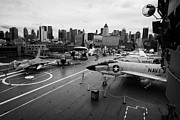 Manhaten Posters - view from the bridge of the USS Intrepid at the Intrepid Sea Air Space Museum new york city usa Poster by Joe Fox