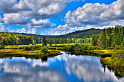 Fir Trees Photos - View from the Green Bridge in Old Forge NY by David Patterson