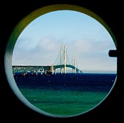 Mackinac Bridge Prints - View from the Mackinac Light Print by Nick Zelinsky