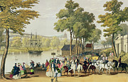 Horses Drawings Prints - View from the North Bank of the Serpentine Print by Philip Brannan