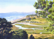 Pines Painting Framed Prints - View from Torrey Pines Del Mar Framed Print by Mary Helmreich