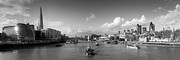 London Cityscape Art - View from Tower Bridge black and white version by Gary Eason