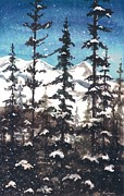 Snowfall Paintings - View from Twister Lift by Barbara Jewell