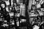 Manhatten Posters - View North And Down Towards Building Rooftops And Fifth 5th Avenue Ave From Empire State Building Poster by Joe Fox