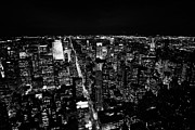 Manhatan Prints - View North At Night Towards Central Park At Night New York City Skyline Print by Joe Fox